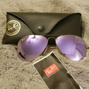 RAY-BAN VIOLET FLASH AVIATOR SUNGLASSES 58MM